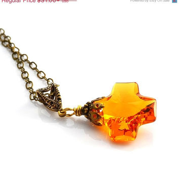 SALE Amber Crystal Necklace Swarovski Cross Topaz Crystal Necklace Golden Yellow Honey Crystal Necklace November Birthstone Antique Brass Je