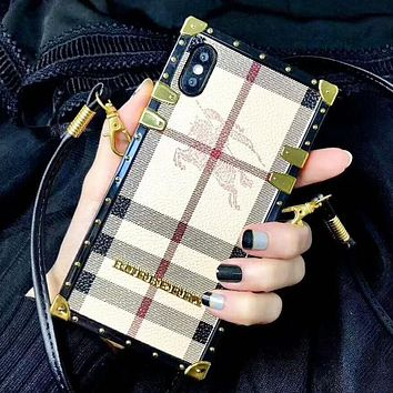 Burberry New fashion plaid protective cover couple phone case
