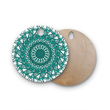 "Patternmuse ""Mandala Spin Jade"" Green Round Wooden Cutting Board"