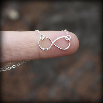 Silver Infinity Necklace - Sterling Silver . Tiny . Minimal . Figure Eight . Inspired by Reese Witherspoon