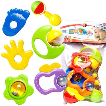6pcs Baby Toddles Rattles Safe Plastic Teether Hand Jingle Shaking Bell Toys Baby Infant Rattle Practice Education Toys