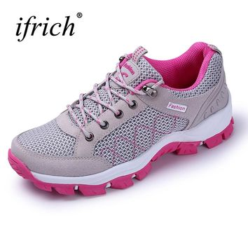 Spring/Summer Women Outdoor Mountain Shoes Mesh Breathable Hiking Shoes Trekking Sneakers Gray Red Outdoor Trail ShoesLadies