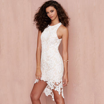White Sleeveless Lace Swallowtail Mini Dress