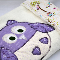 Purple and white owl ultra cuddle fleece baby blanket, Quilted toddler blanket, travel blanket, baby blanket, quilt