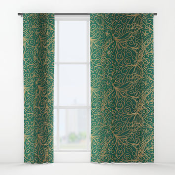 Gold and Green Tangle Pattern Window Curtains by Tanyadraws