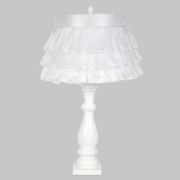 White Shabby Chic Lamp Base with White Ruffled Sheer Skirt Shade