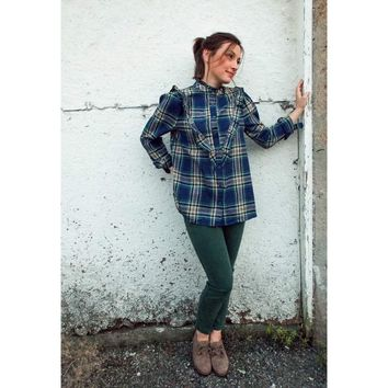 Millie Ruffled Plaid Top in Blue