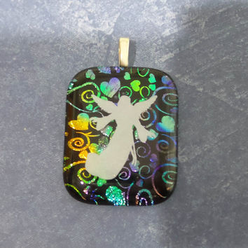Angel Pendant, White Angel, Rainbow Hearts and Swirls, Handmade, Fused Glass Jewelry - Angel Love - - 5