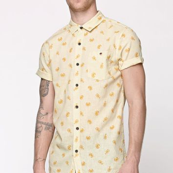Modern Amusement Sea Creatures Short Sleeve Woven Shirt - Mens Shirt - Yellow