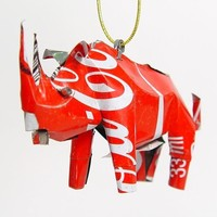 Recycled Coca Cola Can Animal Ornament - Rhino