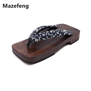 Summer geta Fashion Male Platform Shoes Print Wood Men Clogs sandals Men China Geta Classial Wooden Slippers Mens Flip Flops