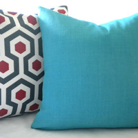 Red christmas pillow cover, FABRIC BOTH SIDES, red geometric sofa pillow, throw pillow, pillow