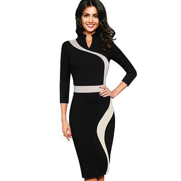 Vfemage Women Vintage Retro Contrast Colorblock Stand Collar Wear to Work Business Casual Party Bodycon Sheath Pencil Dress 2015