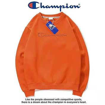 Champion New fashion bust embroidery letter couple long sleeve top sweater Orange