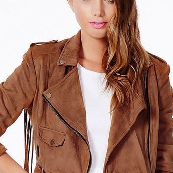 Brown Vintage Notched Collar Zip Up Belted Bottom Jacket