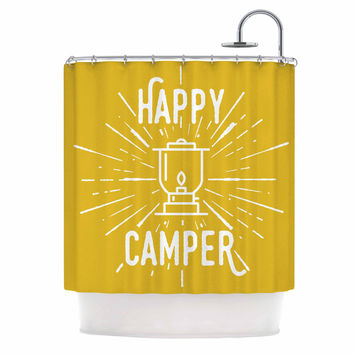 """Jackie Rose """"Happy Camper"""" Yellow Typography Shower Curtain"""