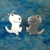 Dinosaur T-Rex sterling silver studs - Halloween jewelry gift for girl teen woman dino studs