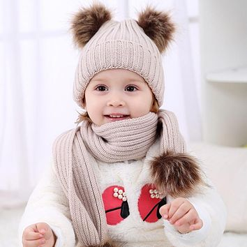 2017 Pom Children Winter Hat For Girls Hat Knitted Beanies Cap Brand New Thick Baby Cap Baby Girl Winter Warm Hat