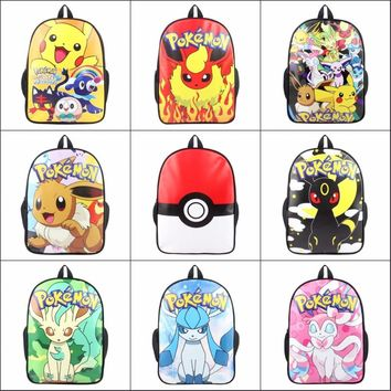 Cartoon anime Pocket Monster Pokemon pikachu EEVEE poke ball backpack School bag Canvas Travel Bag package Shoulder Bag 14 style