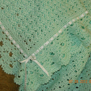 READY to Ship,Beautiful baby green crocheted/Mother's Day/shell design,3 tier edging/Baby Nursery/Baby Shower/FREE Shipping