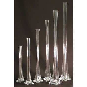 Tall Eiffel Tower Glass Vase Centerpiece, 24-inch, Clear