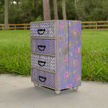 Shabby chic jewelry box, purple weathered barn wood with pink roses, storage keepsake box, handmade decoupage wood box