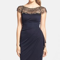 Women's Xscape Embellished Yoke Ruched Mesh Sheath Dress
