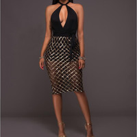 Sexy Deep V-neck Sequined Dresses Club Wear for Woman 2017 Summer Fashion Backless Bodycon Plaid Dress Party Vestisos
