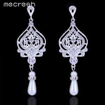 Mecresh New Crystal Simulated Pearl Bridal Jewelry Silver Plated Chandelier Wedding Drop Earrings for Women EH463