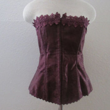 14-0920 Burgundy Lace Corset / Frederick's Of Hollywood Corset / Steampunk Corset / Burlesque Corset / Wine Colored Corset