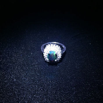 Beautiful faceted black australian opal cocktail statement ring!!!