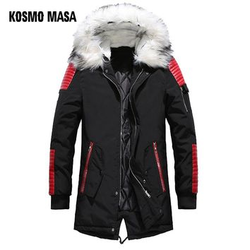 KOSMO MASA Black Long Man Winter Jacket Men Warm Military Fur Hooded Mens Jackets And Coats Zipper Down Men Parkas MP029