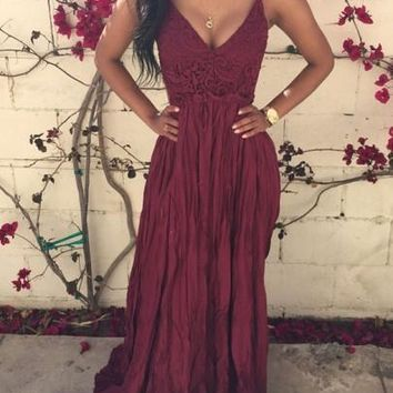 Burgundy Crochet Lace Condole Belt Backless Splicing Draped V-neck Maxi Dress
