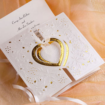 Heart Wedding Invitations Kits - Affordable Folded Wedding Invitation - Gold Heart Embossed Card EWPRI008