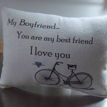 Guy gift pillow boyfriend long distance birthday gift throw pillow
