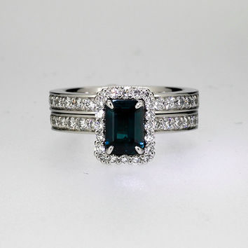 Emerald cut london blue topaz halo engagement ring set, diamond ring, teal engagement ring, blue topaz halo, unique, custom, diamond wedding