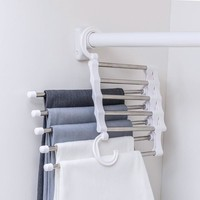 Travel Pants Hangers StaInless Steel Multifunction Dual Hooks 5 Ways Tie Scarfs Belt Towel Magic White Hanger Storage Rack