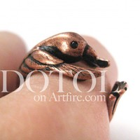 Miniature Hummingbird Bird Ring in Copper - Sizes 4 to 9 Available