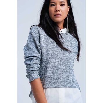 Gray sweater with shirt