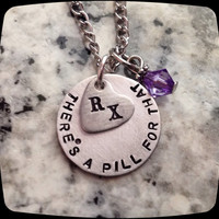 Pharmacy Tech, Pharmacist Jewelry, RX necklace, Pharmacist Gift, Handstamped, Personalized Jewelry