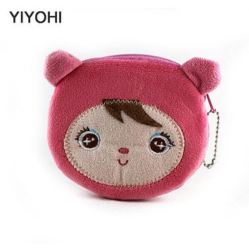 YIYOHI Kawaii Cartoon Angela Children Plush Coin Purse Zip Change PurseKids Girl Women Mini Wallet Storage Bag For Gift