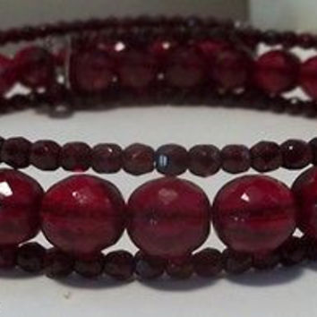 Vintage Glass Choker Necklace Faceted Cranberry Red Glass Wire Wrap