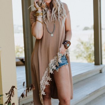 Long Weekend Lace Trim Tunic - Taupe