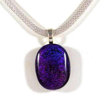 Purple Blue and Black Dichroic Glass Necklace, Fused Glass, Ombre