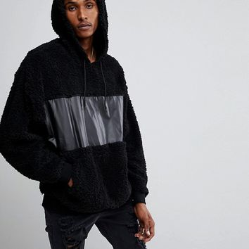 ASOS Oversized Hoodie In Borg With Woven Panel at asos.com