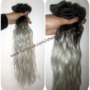 "READY TO SHIP Remy Human Double Weft Clip In Hair Extensions -16"" 110g - #1B Off Black into Silver Grey"