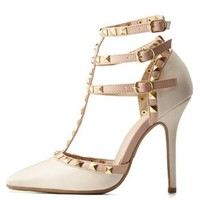 Stone Studded Strappy Pointed Toe Pumps by Charlotte Russe