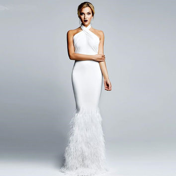 Sexy White Prom Dresses Halter Neck Sleeveless Feather Mermaid Prom Gowns Custom Made Formal Dress