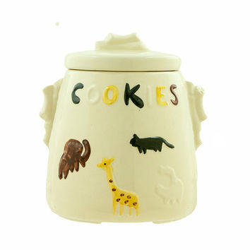 Vintage Cookie Jar USA American Bisque 1950s Animal Cookies Cookie Jar Zoo Circus Animals Mid Century Kitchen Decor Child's Room Decor