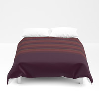 Rich Burgundy Pin Stripes Two Tone Duvet Cover by Sheila Wenzel